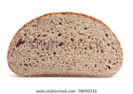 a single slice of bread on white - stock photo