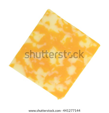 A single slice of Colby-Jack cheese isolated on a white background. - stock photo