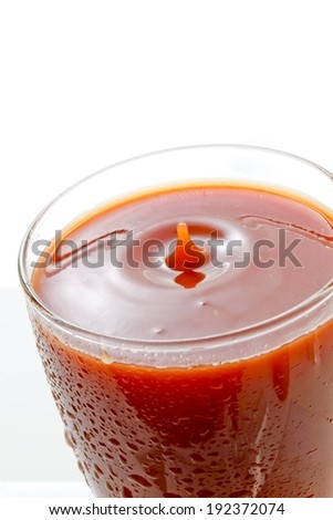 A single splash in the middle of a glass containing a red liquid. - stock photo