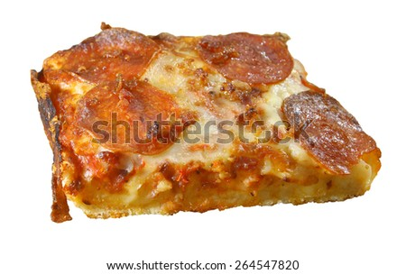 A single square slice of bacon wrapped pepperoni bacon and cheese deep dish pizza isolated on white using a shallow depth of field - stock photo