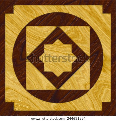 A single, textured wood inlay floor tile design of two contrasting color woods - stock photo