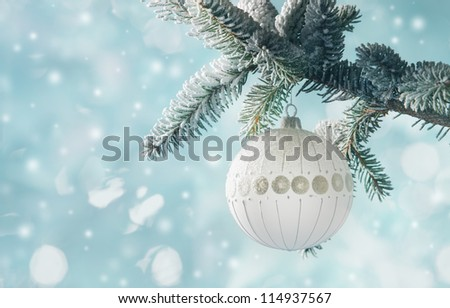 A single white bulb hangs from a frosted pine tree