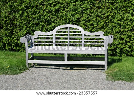 A single wooden garden bench in a formal garden or park positioned against a cedar hedge.