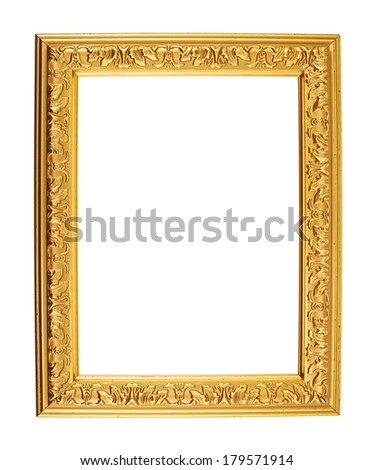 A4 size golden empty photo frame with the carved floral ornaments, isolated over the white background