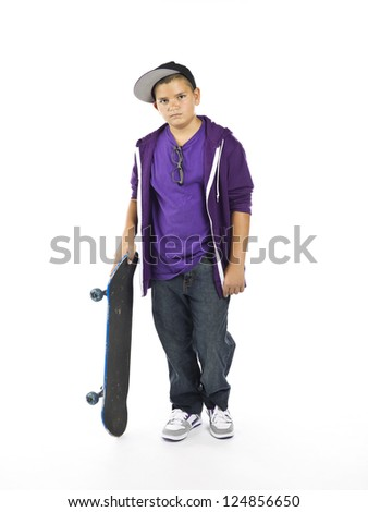 A skateboard and his boy on a white background - stock photo