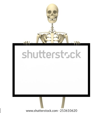 A skeleton holding a blank sign for customizing   - stock photo