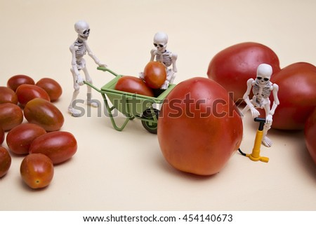 A skeleton pumping small tomato to be a big one, his two friends are helping