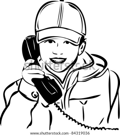 a sketch of a boy wearing a cap with the handset