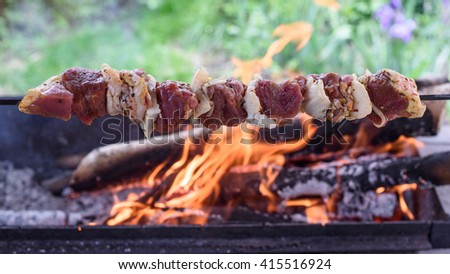 A skewer with lamb meat and fat (lamb kebab) in front of the burning grill