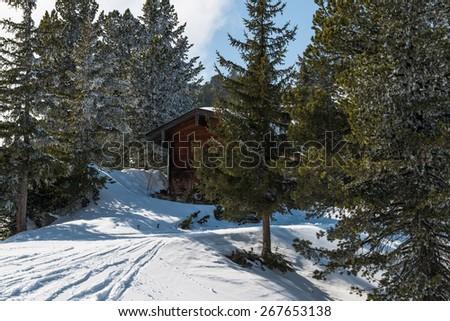 A ski lodge in winter Austrian Alps, Mayrhofen ski resort - stock photo