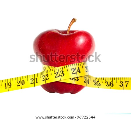 A skinny apple with a measuring tape, isolated on white background