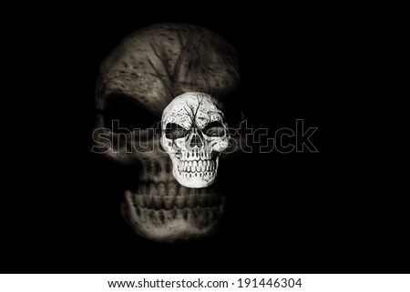 A skull is isolated on a black background with a larger skull ghost image behind it.  A racking the lens technique was used to produce this image. - stock photo