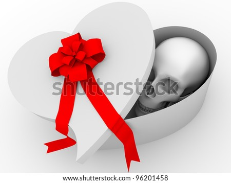 A skull on a gift box with a heart shape