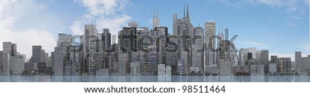 a skyline of a big imaginated city - stock photo