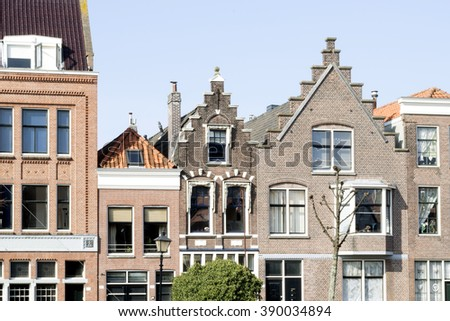 A skyline of vintage roofs of buildings in the old district of Rotterdam, Netherlands