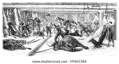 "A Slaughterhouse in Chicago. Illustration originally published in Ernst von Hesse-Wartegg's ""Nord Amerika"", swedish edition published in 1880. - stock photo"