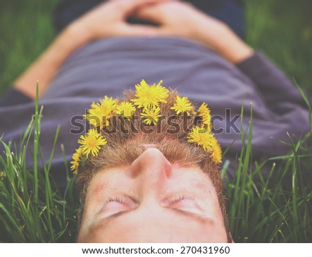 a sleeping hipster lying in tall grass with dandelions in his epic beard taking a nap toned with a retro vintage instagram filter and light leaks  - stock photo