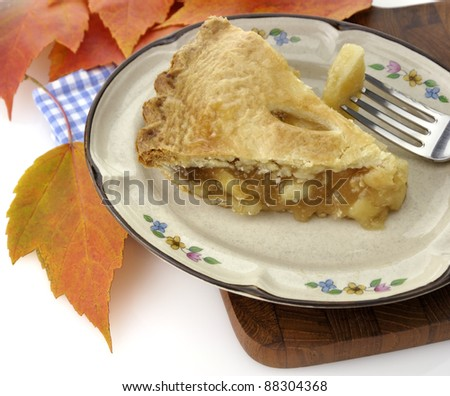A Slice Of Apple Pie On A Plate ,Close Up