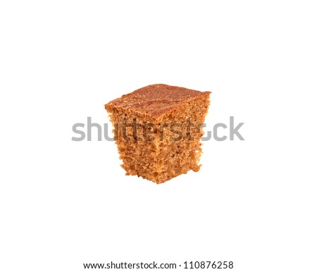 A slice of black bread isolated on a white background - stock photo
