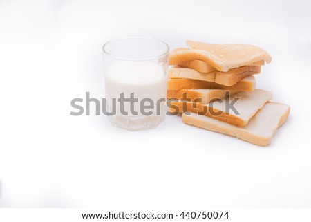 A slice of bread with milk white isolated background.