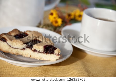 A slice of cake with a cup of tea - tea time concept