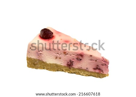 A slice of cheese cake isolated on a white background. - stock photo