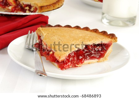 A slice of fresh cherry pie with a glass of milk