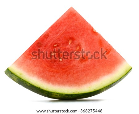 A slice of isolated watermelon - stock photo