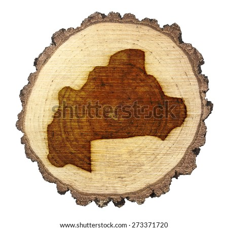 A slice of oak and the shape of Burkina Faso branded onto .(series)