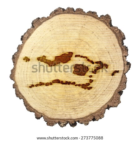A slice of oak and the shape of Palmyra Atoll branded onto .(series) - stock photo