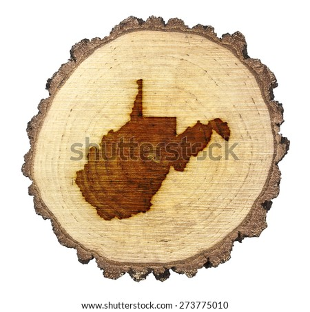 A slice of oak and the shape of West Virginia branded onto .(series) - stock photo
