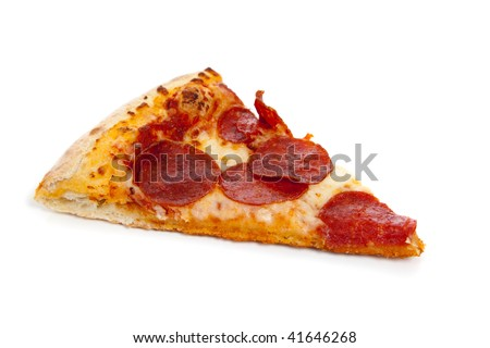 A slice of Pepperoni pizza on a white background - stock photo