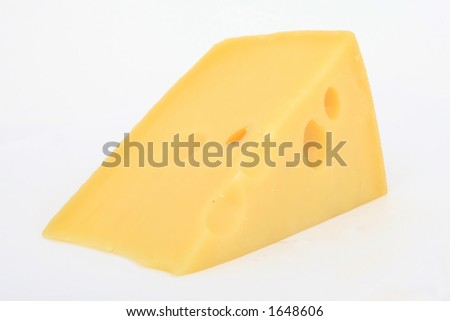 A slice of plain yellow swiss cheese