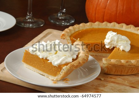 A slice of pumpkin or sweet potato pie