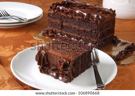 A slice of rich chocolate cake - stock photo