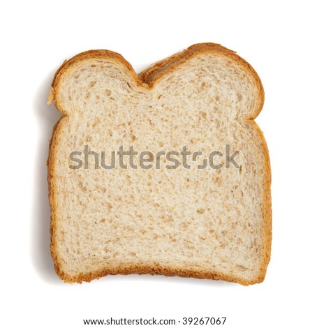 A slice of wheat bread on a white background with copy space