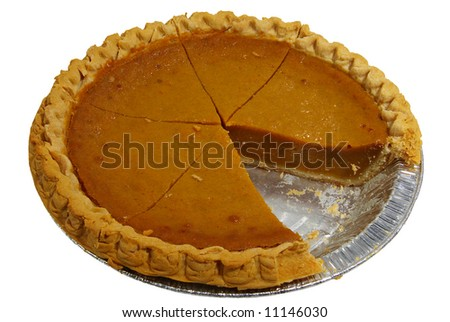 A sliced pumpkin pie in a tin, isolated on a white background. - stock photo