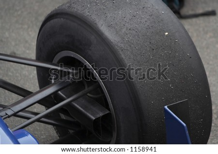 A1 slick tyre on the racing car - stock photo