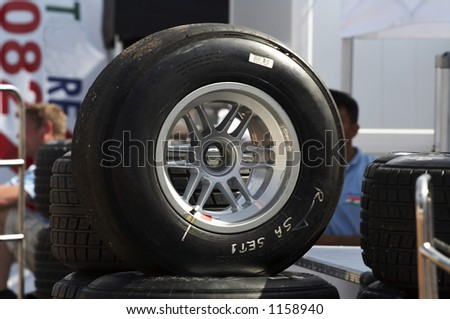 A1 slick tyre used on the racing cars - stock photo
