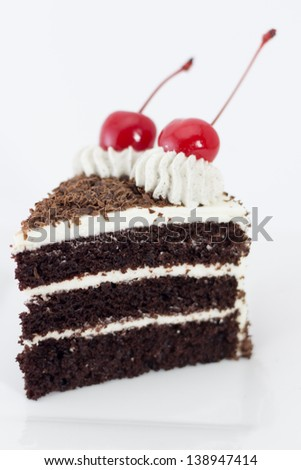 A slide of Black forest cake - stock photo