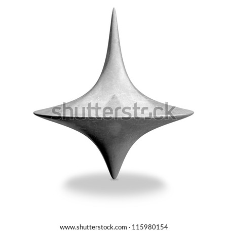 A slightly scratched die-cast lead spinning top in an upright position on an isolated background - stock photo