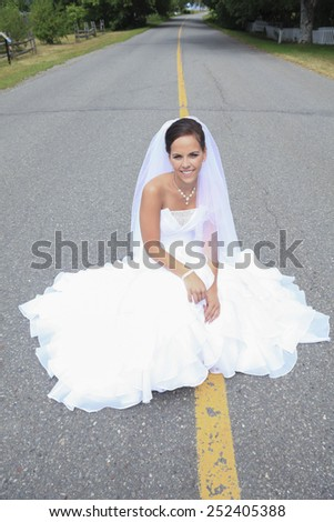 A Slim beautiful woman the wedding day
