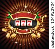A slot fruit machine with cherry winning on 7s. Gold coins fly out at the viewer. - stock photo