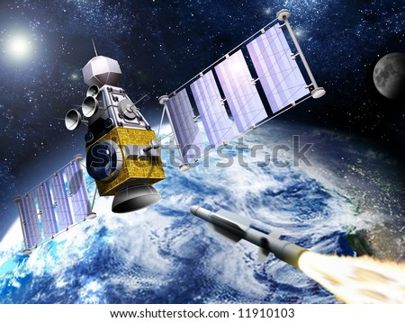 A SM-3 missile a moment before smashing into a spy satellite. - stock photo