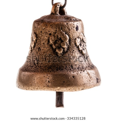 a small ancient indian bronze bell isolated over a white background - stock photo