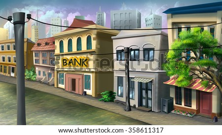 A small bank in the city street.