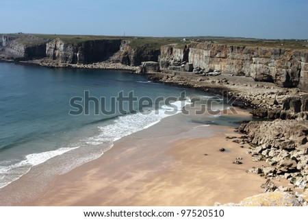 A small beach on the coast of Pembrokeshire - stock photo