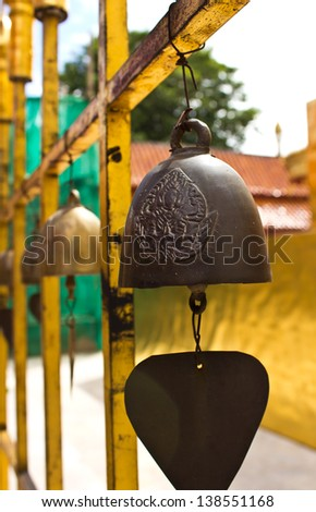A small bell hanging in the temple - stock photo
