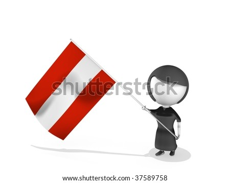 a small bighead with a flag on a white background