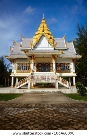 A small Buddhist temple. Surin Beach, Phuket, Thailand - stock photo